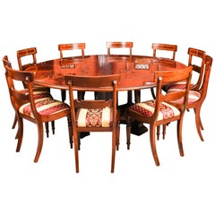 Bespoke Regency Flame Mahogany Jupe Dining Table and 10 Chairs, 21st Century