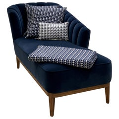 Bespoke Aphrodite Chaise with Fluted Detailing Black Wood Frame and Blue Velvet