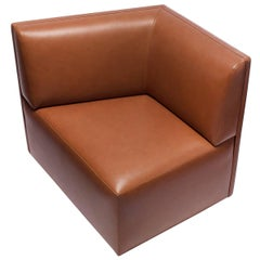 Bespoke Armchair Brown Leather by Vincent Lebourdon Handmade