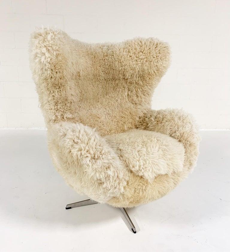 Danish Bespoke Arne Jacobsen Egg Chair and Ottoman in California Sheepskin