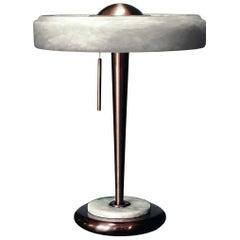 Bespoke Art Deco Design Italian White Alabaster & Bronze Color Round Table Lamp