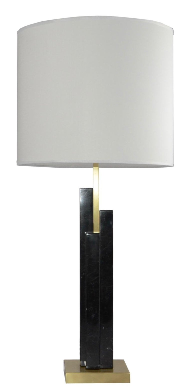 Italian Art Deco Style Pair of Black White Marble Satin Brass Modern Table Lamps For Sale 10