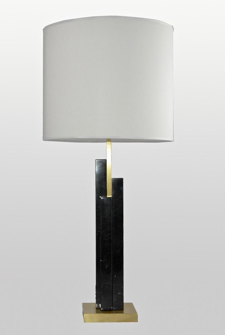 Italian Art Deco Style Pair of Black White Marble Satin Brass Modern Table Lamps For Sale 12