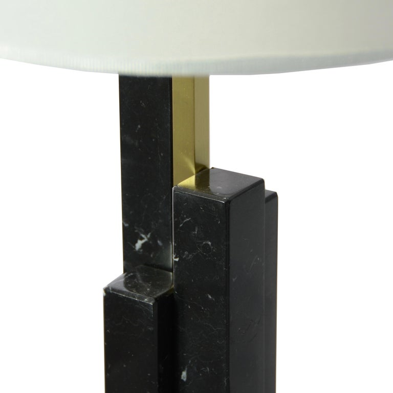 Contemporary Italian Art Deco Style Pair of Black White Marble Satin Brass Modern Table Lamps For Sale