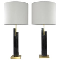 Bespoke Art Deco Design Skyline Pair of Black Marble and Satin Brass Table Lamps