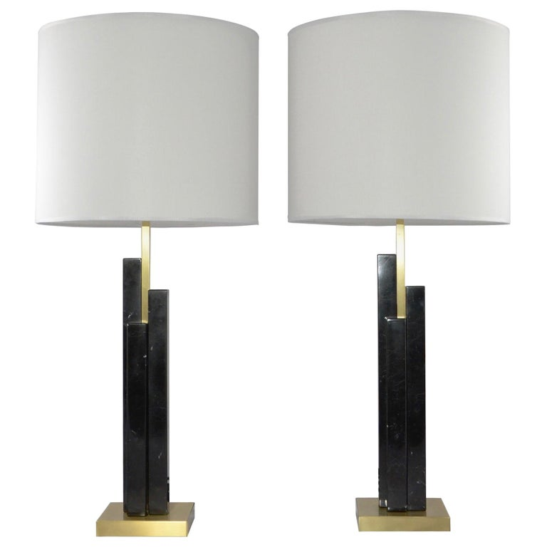 Bespoke Art Deco Design Skyline Pair of Black Marble and Satin Brass Table Lamps For Sale