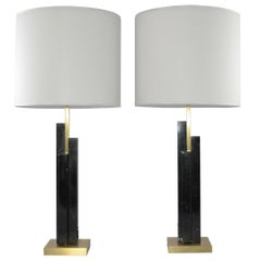 Italian Art Deco Style Pair of Black White Marble Satin Brass Modern Table Lamps