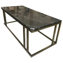 Bespoke Art Deco Inspired Elio Coffee Table Brass Tint Structure & Black Marble