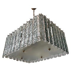 Bespoke Art Deco Style Italian Aquamarine Crystal Murano Glass Flush Chandelier