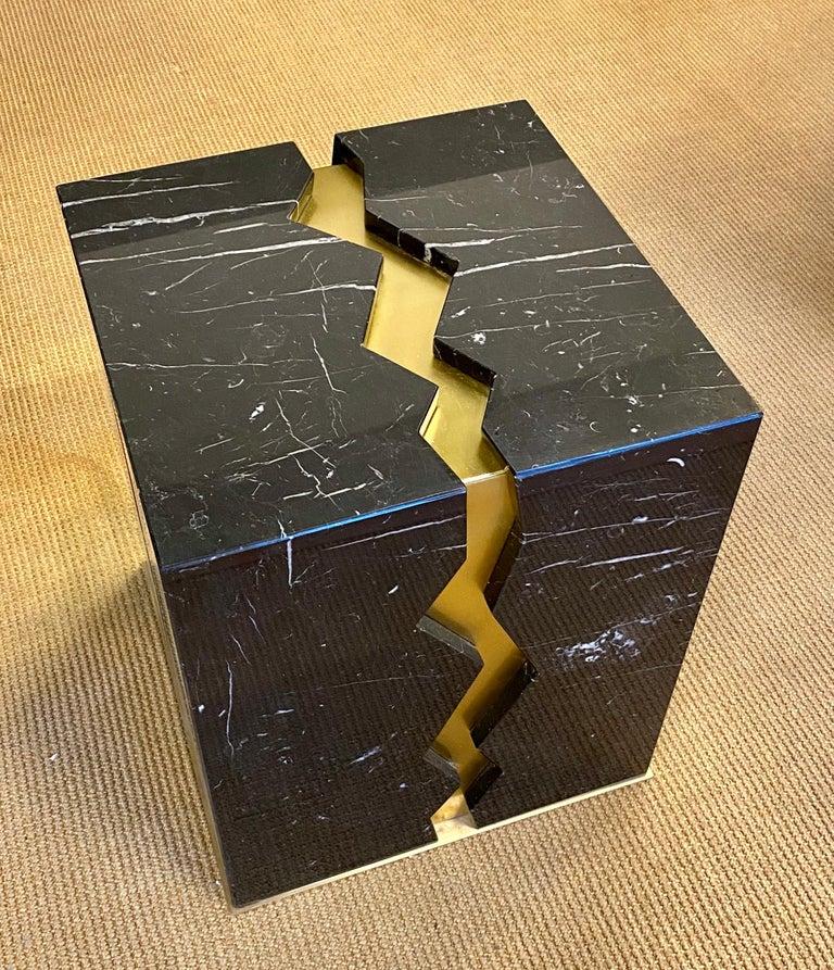 Post-Modern Bespoke Atelier Terrai Italian Black Marble Coffee Table and Satin Brass Insert For Sale
