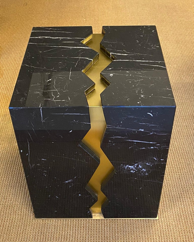 Hand-Crafted Bespoke Atelier Terrai Italian Black Marble Coffee Table and Satin Brass Insert For Sale