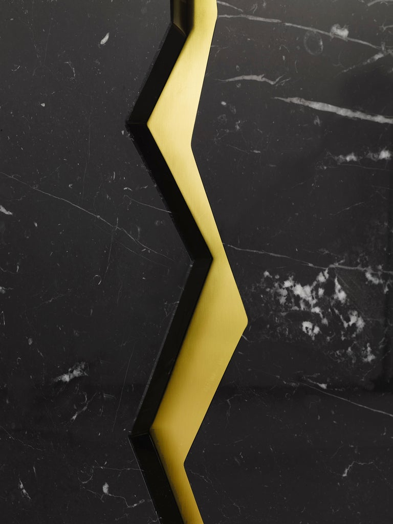 Contemporary Bespoke Atelier Terrai Italian Black Marble Coffee Table and Satin Brass Insert For Sale