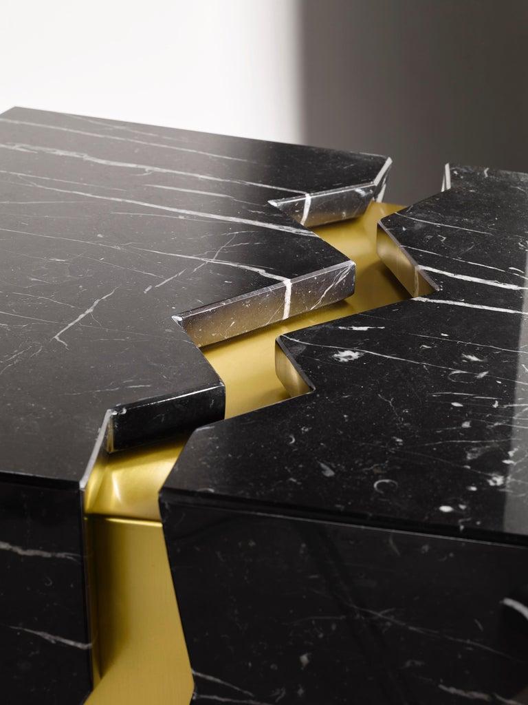 Bespoke Atelier Terrai Italian Black Marble Coffee Table and Satin Brass Insert For Sale 1