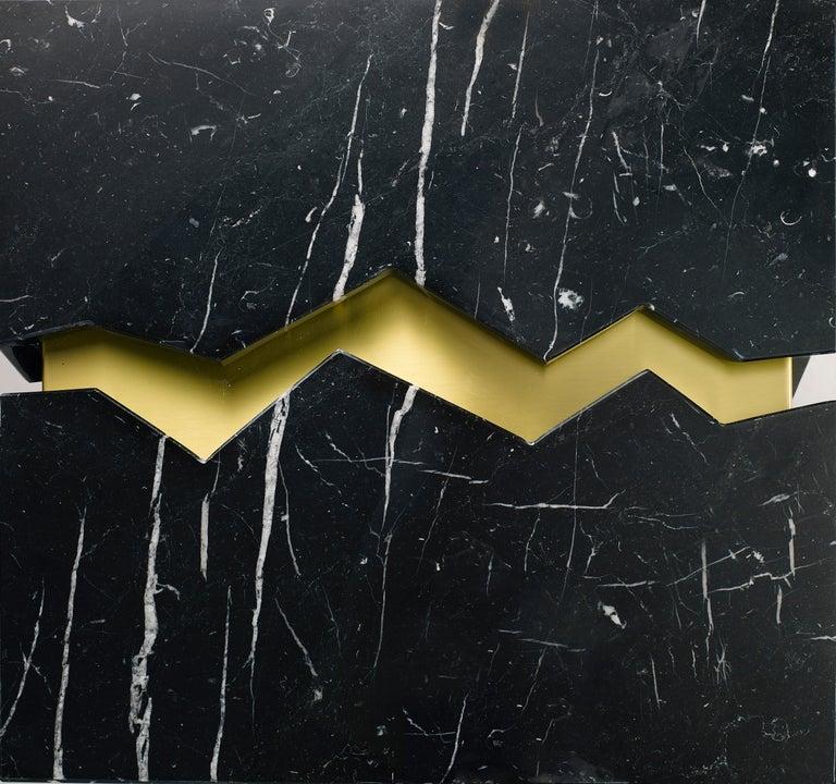 Bespoke Atelier Terrai Italian Black Marble Coffee Table and Satin Brass Insert For Sale 2