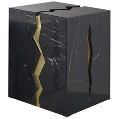 Bespoke Atelier Terrai Italian Black Marble Coffee Table and Satin Brass Insert