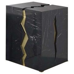 Bespoke Atelier Terrai Italian Black Marble Coffee Table and Satin Brass Insert