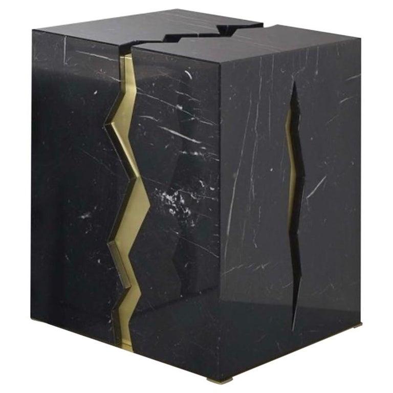 Bespoke Atelier Terrai Italian Black Marble Coffee Table and Satin Brass Insert For Sale