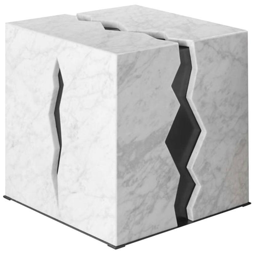 Bespoke Atelier Terrai Italian White Carrara Coffee Table & Satin Bronze Insert