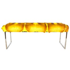 Bespoke Bench in Exotic Springbok Fur in Vibrant Hues of Yellow