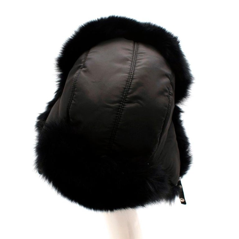 Bespoke Black Nylon & Vison Fur Padded Hat  In Excellent Condition For Sale In London, GB