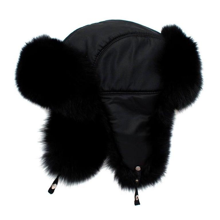 Women's or Men's Bespoke Black Nylon & Vison Fur Padded Hat  For Sale