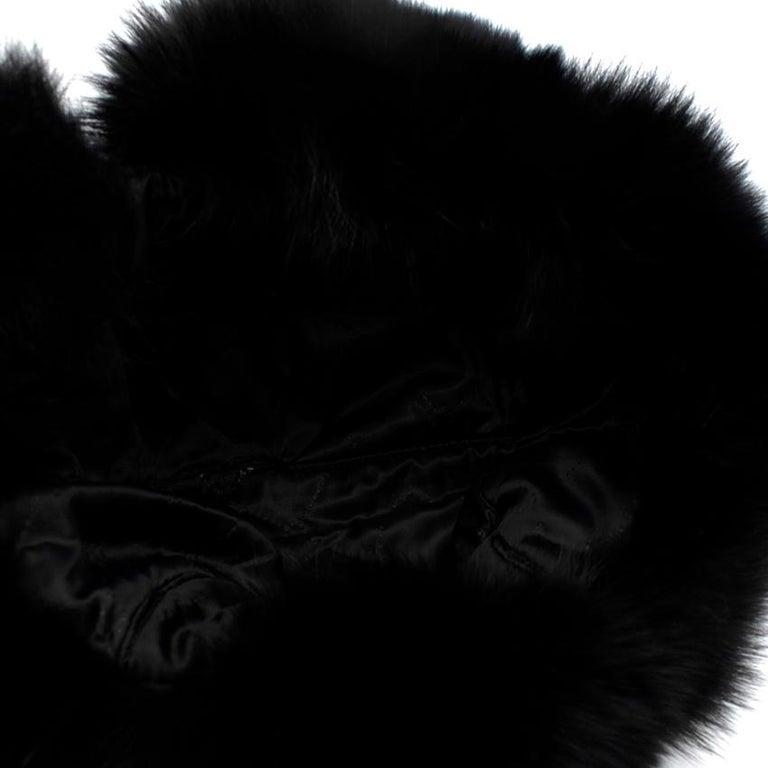 Bespoke Black Nylon & Vison Fur Padded Hat  For Sale 2