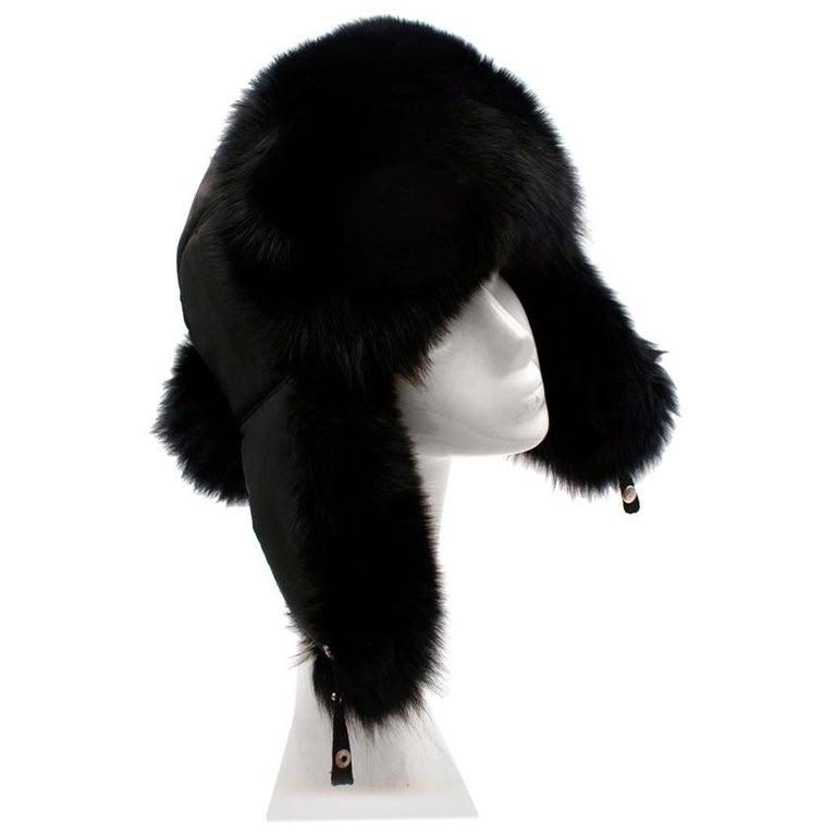 Bespoke Black Nylon & Vison Fur Padded Hat  For Sale
