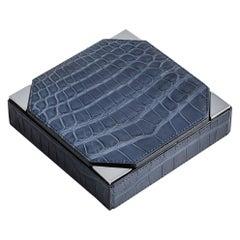 Bespoke Blue Alligator Checkers Game Set Box