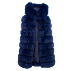 Bespoke Blue Fox Fur Vest- Coat (Size: US 6/S)