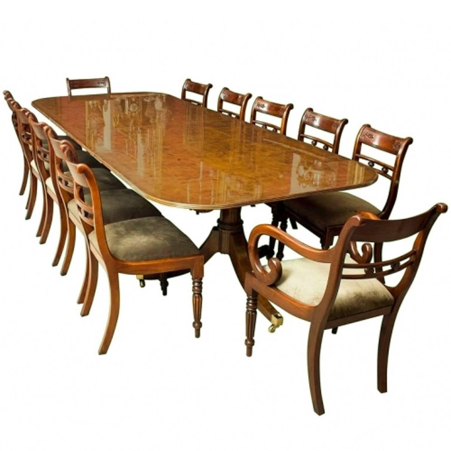 Bespoke Burr Walnut Regency Style Dining Table 12 Tulip Back Chairs For Sale Regency Style Furniture G13