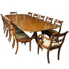 Bespoke Burr Walnut Regency Style Dining Table 12 Tulip Back Chairs