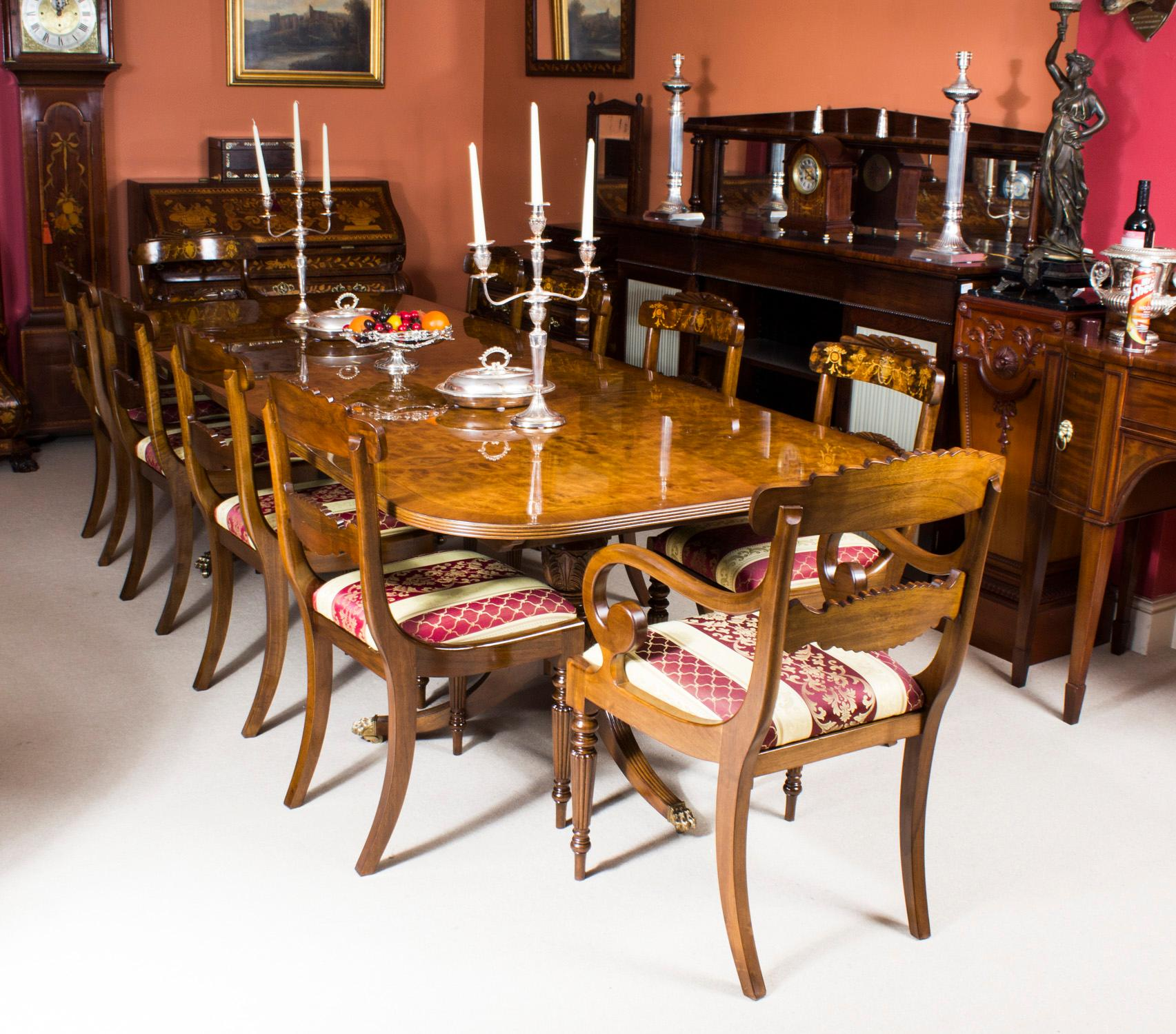 178e2fac5731d Bespoke Burr Walnut Regency Style Twin Pillar Dining Table and Ten Chairs  For Sale at 1stdibs