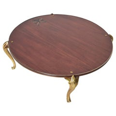 Bespoke Butterfly Inlay Round Wood Coffee Table Gold Trim Gilded Cabriole Legs