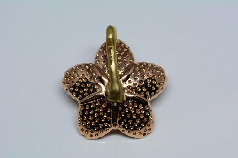 Cherry Blossom Pendant with 2.20ct Pavé Set Diamonds 20kt Rose Gold In New Condition For Sale In Aurora, Ontario