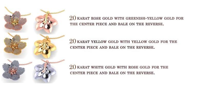 Cherry Blossom Pendant with 2.20ct Pavé Set Diamonds 20kt Rose Gold For Sale 3
