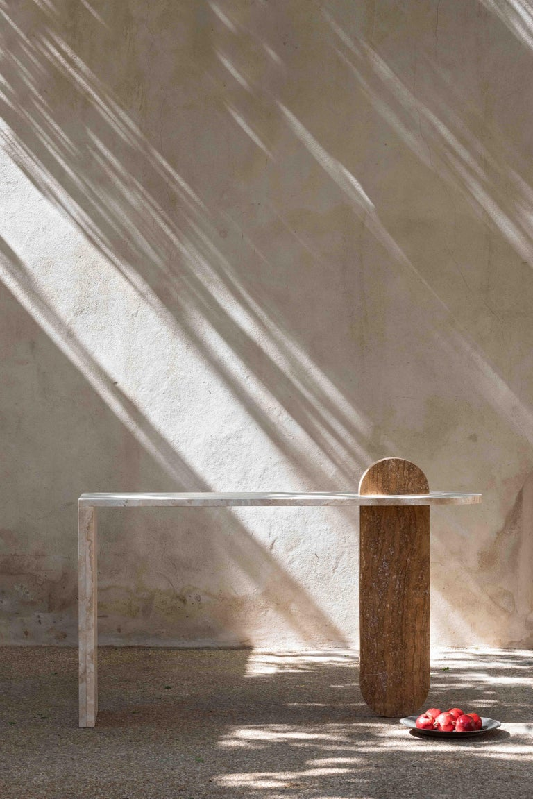 Emirian Bespoke Contemporary Architectural Marble Console Table, by Chapter 101 For Sale