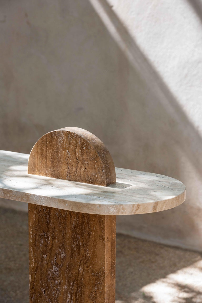 Hand-Crafted Bespoke Contemporary Architectural Marble Console Table, by Chapter 101 For Sale