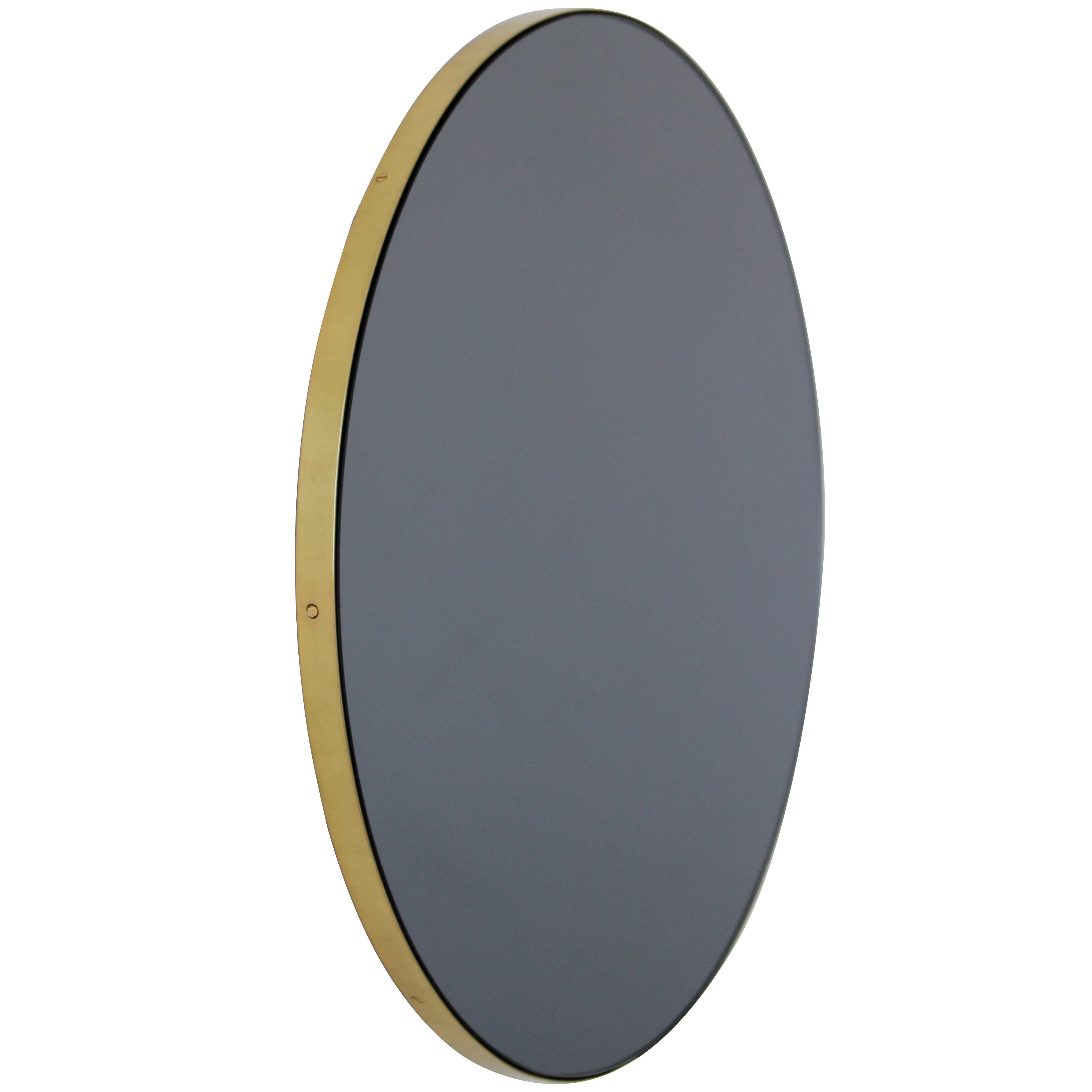 Orbis™ Black Tinted Round Contemporary Mirror with Brass Frame - Large