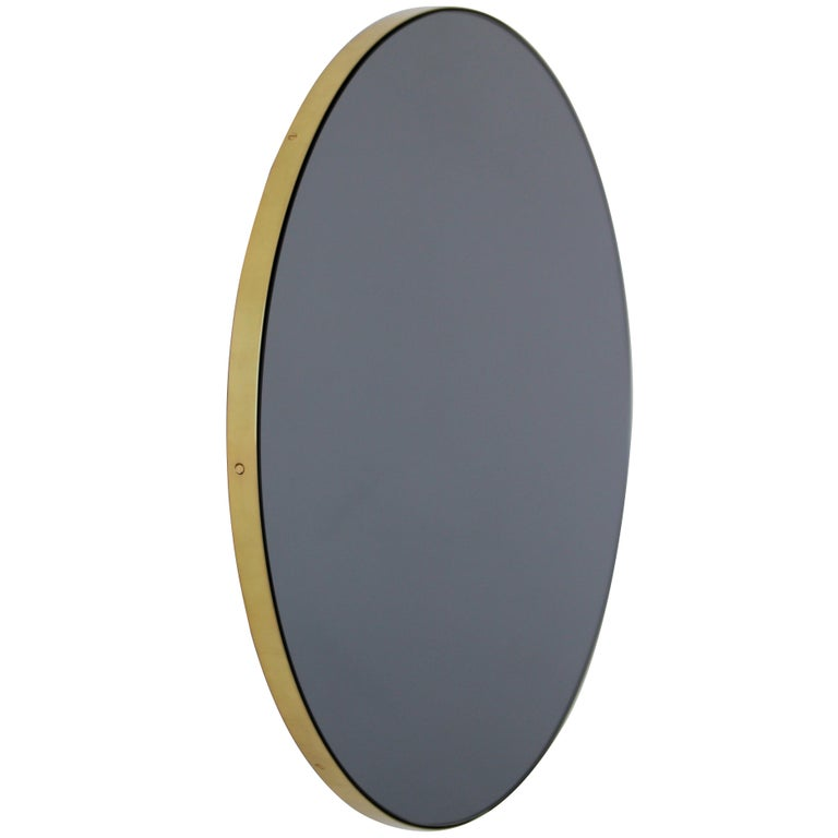 Orbis™ Black Tinted Round Contemporary Mirror with Brass Frame - Large For Sale