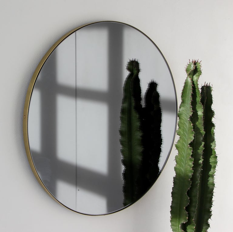 British Orbis™ Black Tinted Round Contemporary Mirror with Brass Frame - Large For Sale