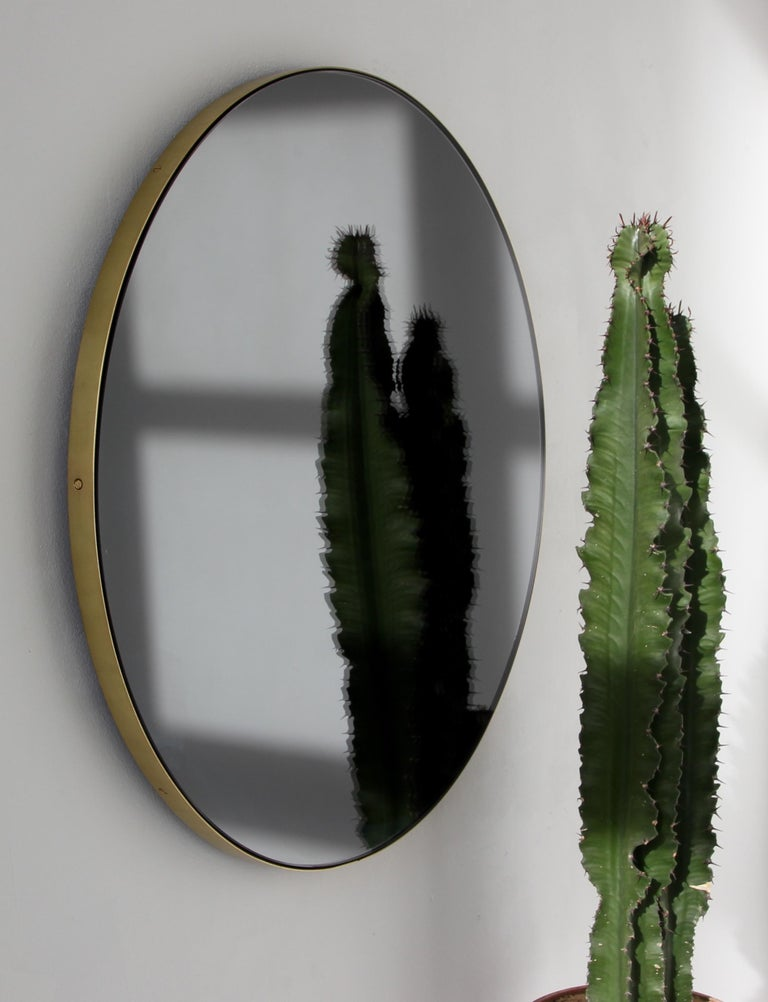 Blackened Orbis™ Black Tinted Round Contemporary Mirror with Brass Frame - Large For Sale