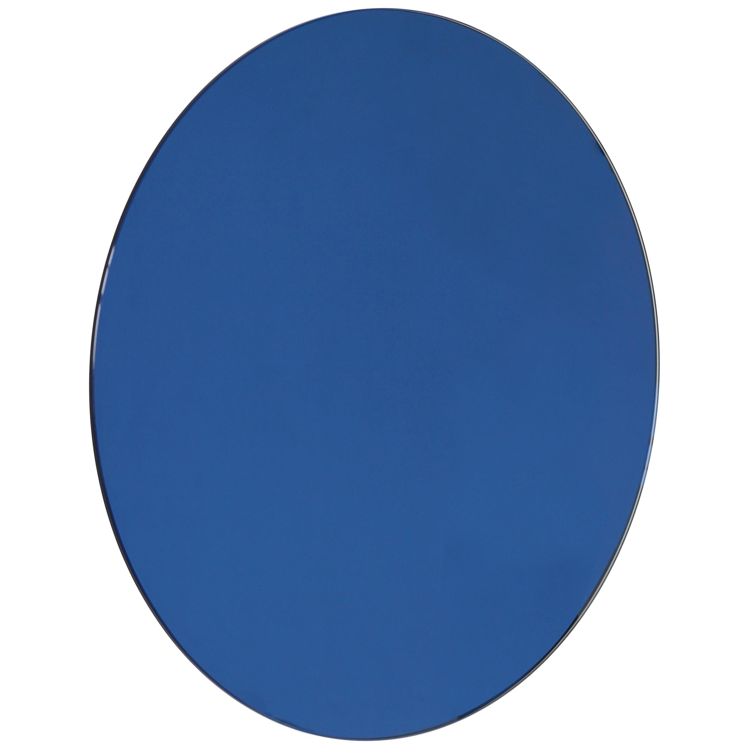 Orbis™ Blue Tinted Circular Minimalist Frameless Mirror - Large