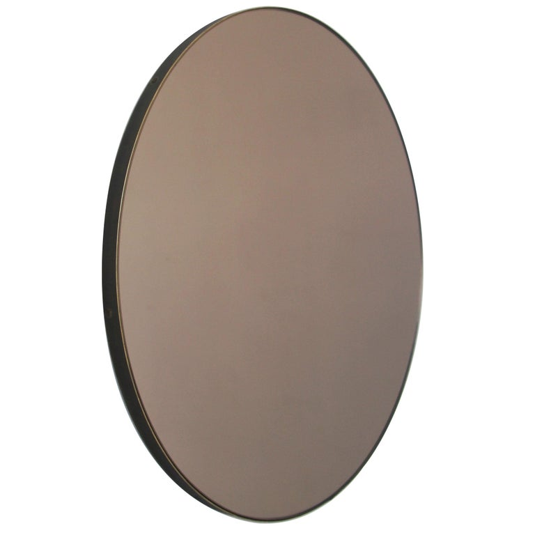 Bespoke Contemporary Bronze Tinted Orbis Round Mirror Brass Patina Frame, Large For Sale