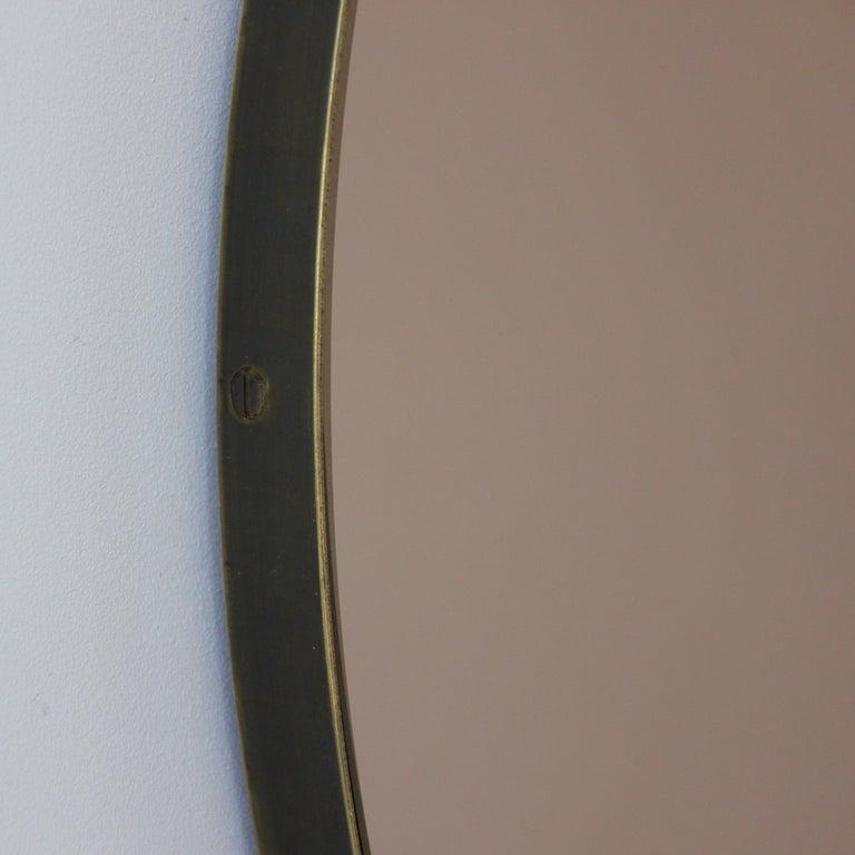 Organic Modern Bespoke Contemporary Bronze Tinted Orbis Round Mirror Brass Patina Frame, Large For Sale