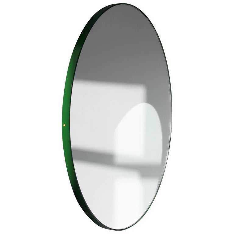 Bespoke Contemporary Decorative Circular Orbis Minimalist Mirror and Green Frame For Sale