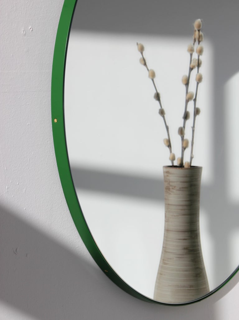 British Bespoke Contemporary Decorative Circular Orbis Minimalist Mirror and Green Frame For Sale