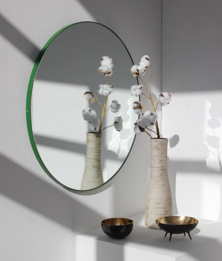 Bespoke Contemporary Decorative Circular Orbis Minimalist Mirror and Green Frame For Sale 2