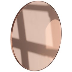 Orbis™ Rose Gold Tinted Round Contemporary Mirror with Copper Frame
