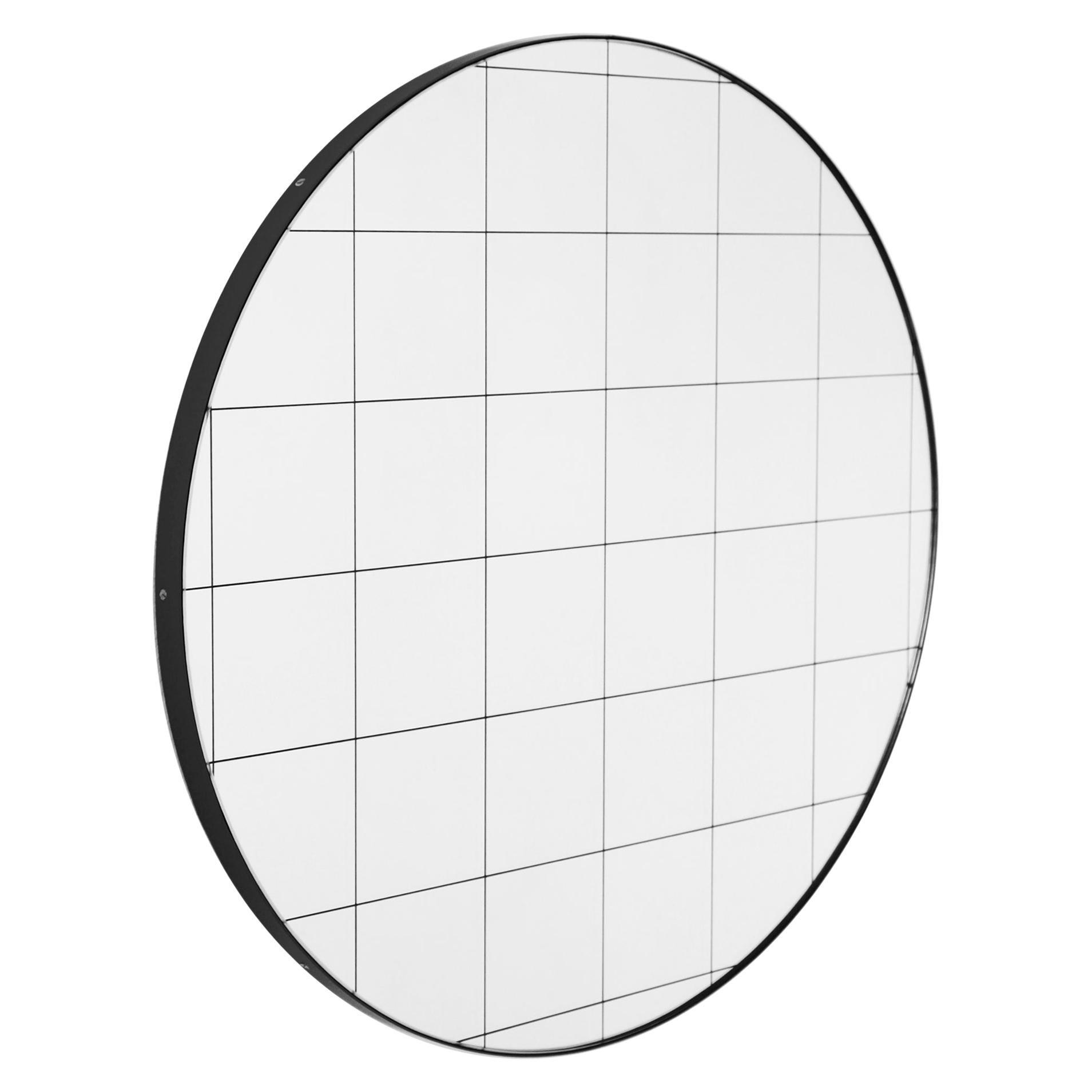 Orbis™ Black Grid Round Minimalist Bespoke Mirror with Black Frame - Large