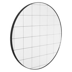 Orbis™ Black Grid Round Minimalist Bespoke Mirror with Black Frame - Large